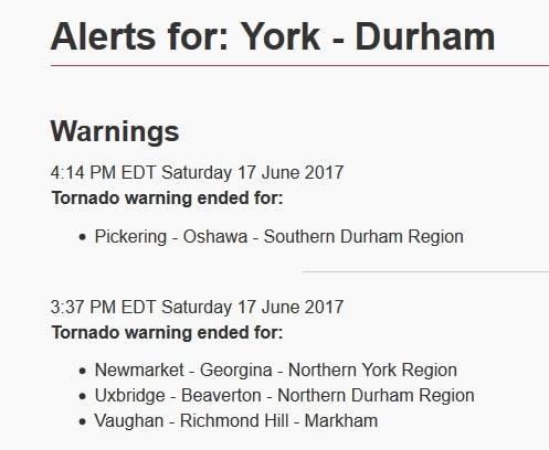Alerta de tornado cancelada en el sur de Ontario: Riesgos por tormenta continúan