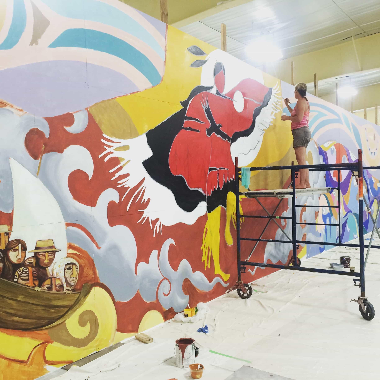 En Waterloo realizan imponente mural referido a la pertenencia con artistas latinoamericanos,  locales y voluntarios.
