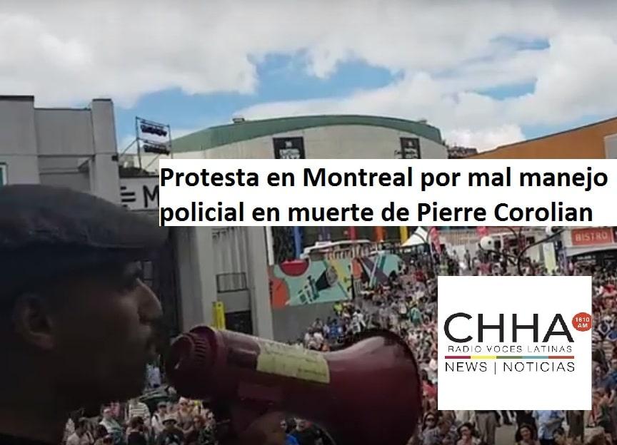 Protesta en Montreal por mal manejo policial en muerte de Pierre Corolian